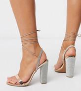 Asos Design DESIGN Wide Fit Narrator strappy sandals with embellished heel in rose gold