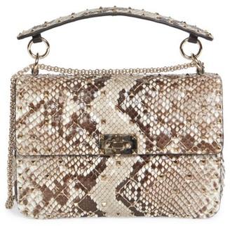 Valentino Garavani Medium Rockstud Spike Python-Embossed Leather Shoulder Bag