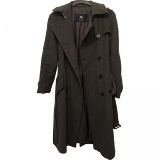 Burberry Grey Wool Trench Coat for Women
