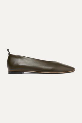 Bottega Veneta Leather Ballet Flats - Army green