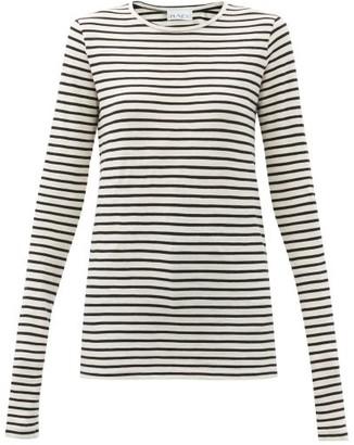 Raey Long Sleeved Striped Slubby Cotton Jersey T Shirt - Womens - Navy Stripe