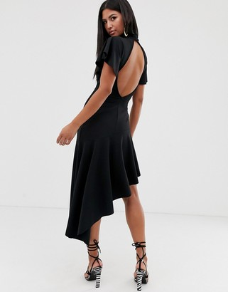 Asos Design DESIGN high neck midi dress with open back and pep hem-Black