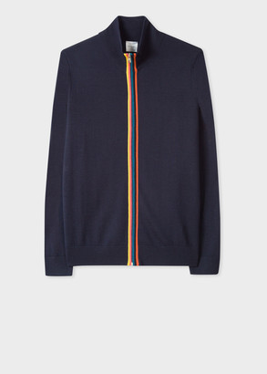 Paul Smith Men's Dark Navy Merino Wool 'Artist Stripe' Zip-Through Cardigan