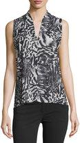 T Tahari Esme Sleeveless Printed Top, Black/Multi