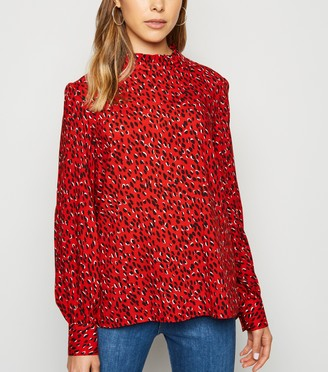 New Look Spot Frill Neck Puff Sleeve Blouse