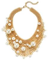 Kenneth Jay Lane Mesh & Pearl Bib Necklace