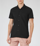 Reiss Reiss Torino - Cuban Collar Shirt In Black