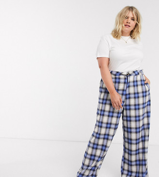 Daisy Street Plus relaxed high waist trousers in vintage check