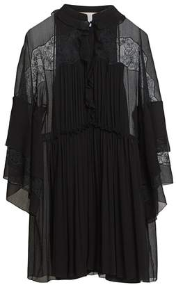 Chloé Lace Detail Pleated Silk Dress