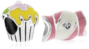 Rhona Sutton 4 Kids Children's Enamel Candy Cupcake Bead Charms - Set of 2 in Sterling Silver