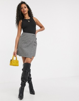 Miss Sixty houndstooth mini skirt with logo tape detail