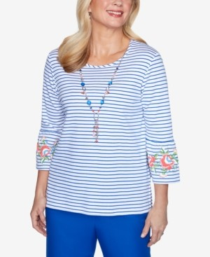 Alfred Dunner Plus Size 3/4 Bell Sleeve Striped Knit Top