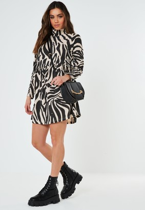 Missguided Stone Zebra Print High Neck Smock Dress