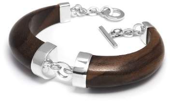 The Branch Jewellery Gold Plated Rosewood Bracelet with Silver Ring Detail of 18cm