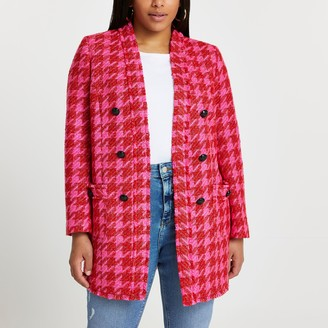 River Island Womens Plus Pink dogtooth blazer