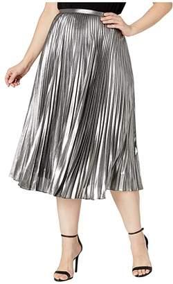Lauren Ralph Lauren Plus Size Pleated Metallic Skirt (Black/Silver) Women's Skirt