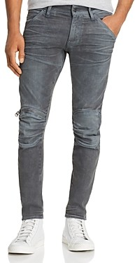 G Star 5620 3D Knee-Zip Skinny Jeans in Dark Aged Cobler