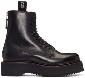 R 13 Black Single Stacked Platform Lace-Up Boots