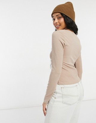New Look square neck ribbed t-shirt in mink