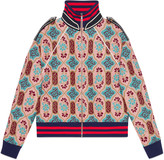 Gucci Lurex tapestry jacquard wool knit bomber jacket
