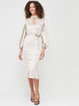 Very Wrap Blouson Sleeve Satin Midi Dress