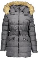 Steve Madden Charcoal Heather Faux Fur Hooded Puffer Coat