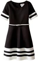 Us Angels Scuba Short Sleeve V-Neck Fit Flare Dress Girl's Dress