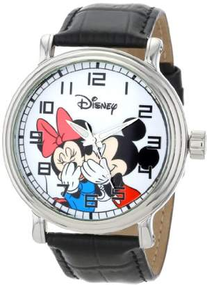 EWatchFactory Disney Men's W000857 Vintage Mickey and Minnie Mouse Leather Strap Watch
