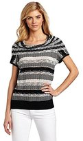 Chaus Women's Cap Sleeve Stripe Pointelle Sweater