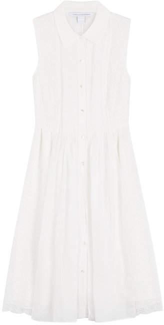 Diane von Furstenberg Sleeveless Shirtdress with Lace Eyelet Paneling