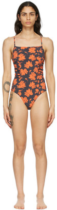Ganni Navy Recycled One-Piece Swimsuit