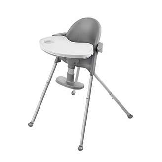 Kinderkraft Highchair PINI, Baby Chair, Ergonomic, Easy Folding, Easy to Clean, with Ajustable Footrest, Comfortable Armrests, Detachable Tray, for Toddler, from 6 Month to 5 Years, Gray