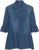 Club One Plus Size Ruffle sleeve denim blouse