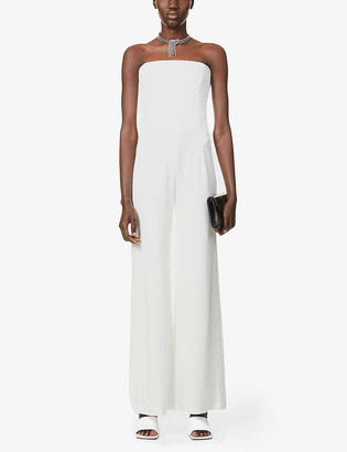 Galvan Paris strapless wide-leg crepe jumpsuit