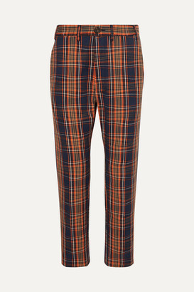 Vivienne Westwood Long George Checked Cotton-twill Straight-leg Pants - Navy