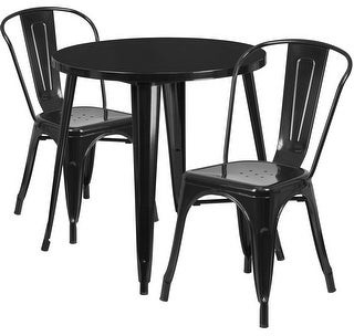 Lancaster Home 30'' Round Metal Indoor-Outdoor Table Set with 2 Cafe Chairs