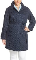 London Fog Plus Size Women's Polka Dot Single Breasted Trench Coat