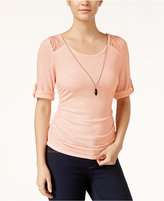 Amy Byer Juniors' Lace-Trim Roll-Tab Top with Necklace