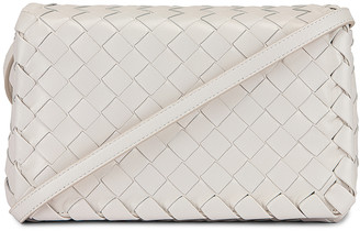 Bottega Veneta Leather Woven Crossbody Bag in White & Gold | FWRD
