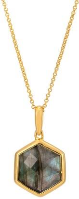 Katie Belle Rosina 18ct Gold Vermeil Hexagon Pendant - Labradorite