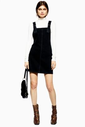 Topshop Womens Washed Black Denim Pinafore Dress - Washed Black