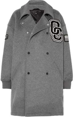 Opening Ceremony Oversized Double-breasted Appliqued Wool-blend Felt Coat