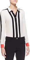 Escada Striped Button-Down Blouse, White/Black