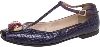 Fendi Purple Croc Embossed Leather Embellished T-Strap Flats Size 38