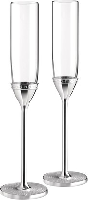 Vera Wang Wedgwood 'With Love' Silver Plated Flutes, Set of 2, Clear