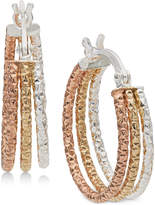 Giani Bernini Tri-Color Hoop Earrings in Sterling Silver & 18k Gold- and Rose Gold-Plate, Created for Macy's