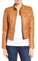 Cole Haan Women's Band Collar Leather Racer Jacket