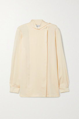Max Mara Onorata Draped Silk-crepe Blouse - Cream