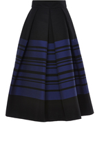 Martin Grant Cotton Blend Striped Midi Skirt