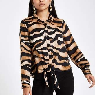 River Island Womens Petite Brown zebra print button-up shirt